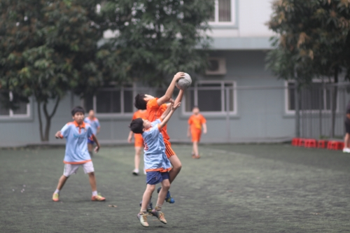 Aerial action from Blue Dragon U13s v VAS Hanoi U13s
