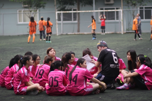Half time team talk - VAS Hanoi Girls with Coach Jim Kiernan