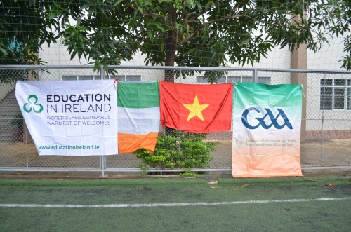 Vietnamese + Irish flags. DFA/GAA + Education in Ireland banners