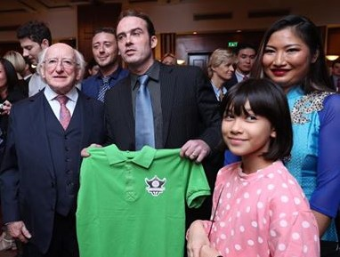 Launch of the AYC Championship with President Higgins, Fergus Broderick, Jim Kiernan, Rosa Clifford and Le Ngoc Anh